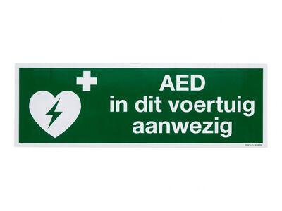 STICKER AED IN DIT VOERTUIG AANWEZIG (300 X 100 MM)