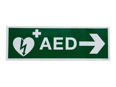 STICKER AED PIJL RECHTS (300 X 100 MM)