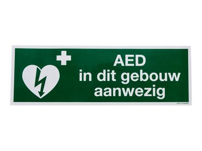 STICKER AED IN DIT GEBOUW AANWEZIG (300 X 100 MM)